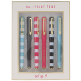 Striped & Inspirational Pens - 6 Piece Set
