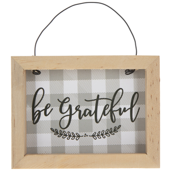 Be Grateful Plaid Ornament
