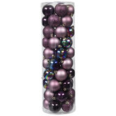 Purple Matte, Shiny, Glitter & Iridescent Ball Ornaments