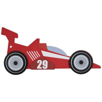 Red Racecar Painted Wood Shape