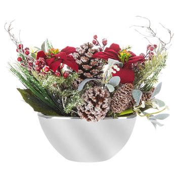 Flocked Poinsettia Arrangement