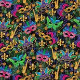 Mardi Gras Masks Cotton Calico Fabric