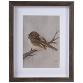 Brown Winter Bird Framed Wall Decor