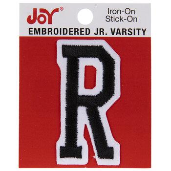 "Black Junior Varsity Letter Iron-On Applique R - 2"""