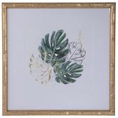 Green & Gold Palm Framed Wall Decor
