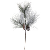 Flocked Pine & Pinecones Pick
