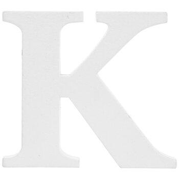 """White Wood Letter K - 3"""""""