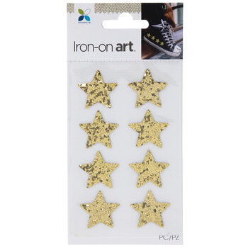 Gold Glitter Star Iron-On Appliques