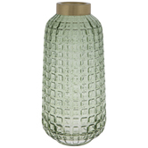 Green Grid Round Glass Vase