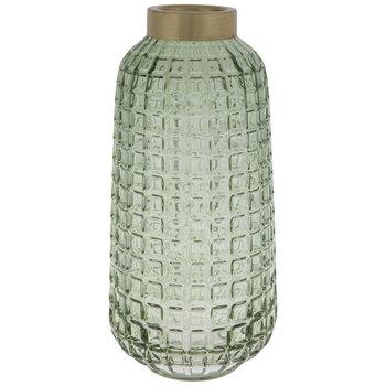 Green Grid Round Glass Vase