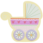 Baby Stroller Painted Wood Shape