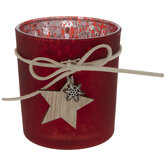 Red Mercury Glass Candle Holder With Star