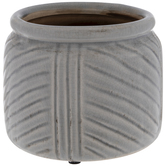 Gray Striped Crackled Flower Pot