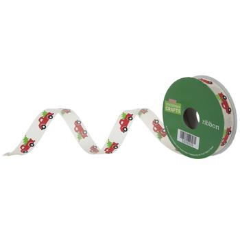 "Christmas Truck Cut Edge Ribbon - 5/8"""