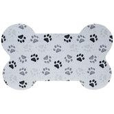 White & Black Paw Prints Bone Doormat