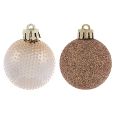 Copper Studded & Glitter Round Ornaments