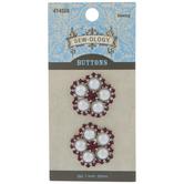 Rhinestone & Pearl Flower Shank Buttons - 25mm
