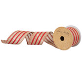 """Red Striped Wired Edge Burlap Ribbon - 2 1/2"""""""