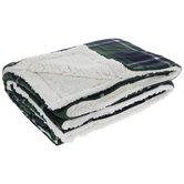 Green & Navy Plaid Sherpa Throw Blanket