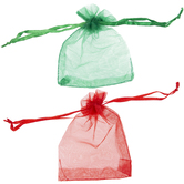 Red & Green Organza Bags