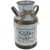 Give Thanks Galvanized Metal Milk Can