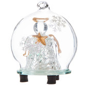 Light Up Angel Holding Gold Star In Globe Ornament