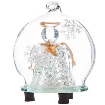 Light Up Angel Holding Gold Star In Globe Ornament