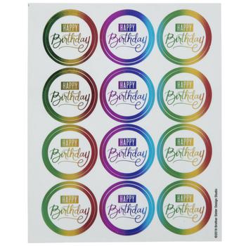 Rainbow Foil Happy Birthday Envelope Seals
