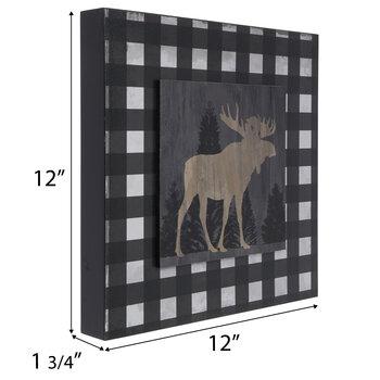 Buffalo Check Moose Wood Wall Decor