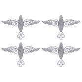 Silver Glitter Flourish Bird Ornaments