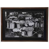 Buckets Of Flowers Framed Wood Wall Decor