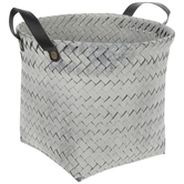 Gray & White Woven Container