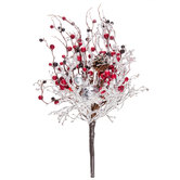 Flocked Berry & Ornament Bush