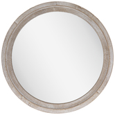 Whitewash Round Wood Wall Mirror - Large