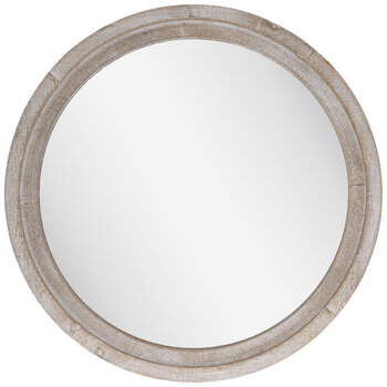 Whitewash Round Wood Wall Mirror