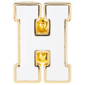 White Letter Metal Pin - H