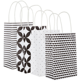 Black & White Patterned Craft Gift Bags - Small