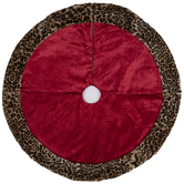 Red & Brown Velvet Leopard Print Tree Skirt