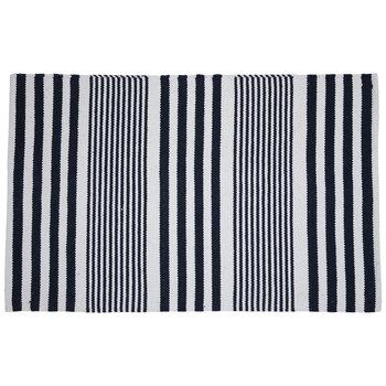 Blue & White Striped Rug