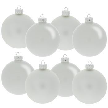 White Matte & Shiny Ball Ornaments