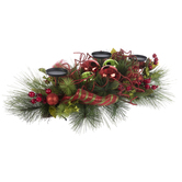 Evergreen Ornament Candle Holder Centerpiece