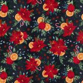 Poinsettias & Oranges Cotton Fabric