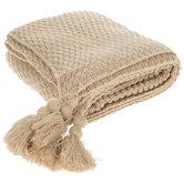 Khaki Knit Throw Blanket With Tassels