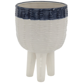 White & Blue Pot With Legs