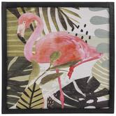 Flamingo & Leaves Wood Wall Decor