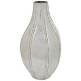 Silver Patina Ridged Metal Vase