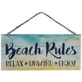 Beach Rules Wood Wall Decor