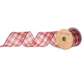 """Red & Cream Plaid Burlap Ribbon - 3"""""""