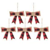 Red & Black Plaid Bow Ornaments