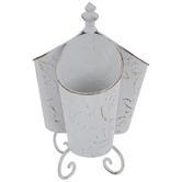 Antique White Embossed Metal Caddy
